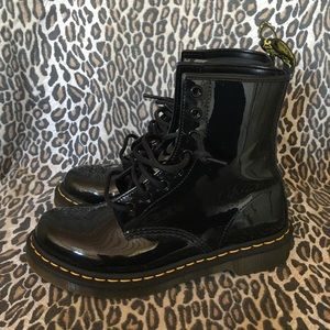 Dr Martens Black Shiny Patent Leather Boots 7
